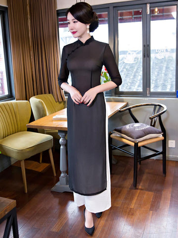 Simple Solid Color 3/4 Sleeve Turtle Neck Ao Dai Long Cheongsam Dress