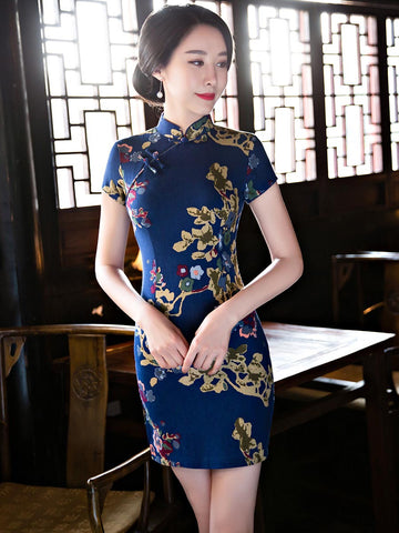 Pretty Blue Floral Short Sleeve Stand Neck Side Split Short Cheongsam Party Dress
