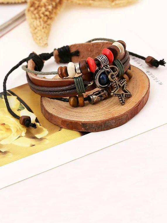 Punk Multi layer Star Beads Bracelet Accessories