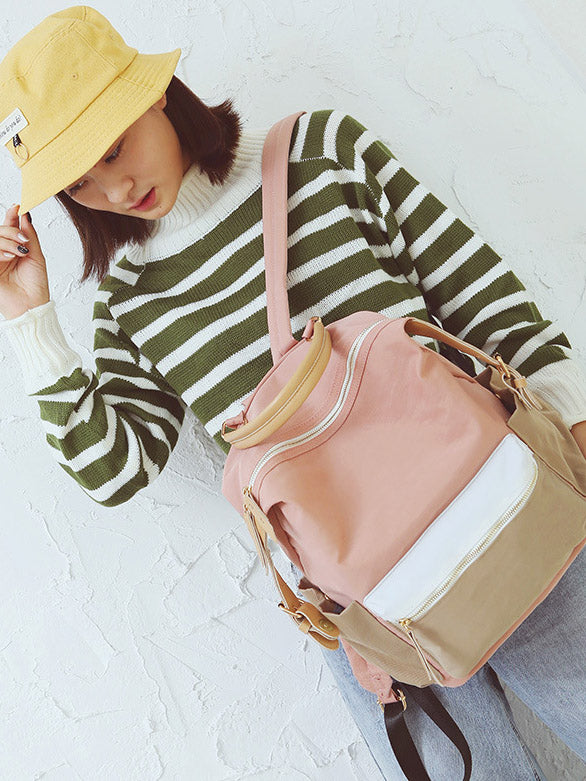 Fashion Zipper Buckle Patchwork Backpack Bag