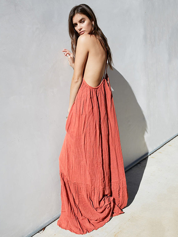Ruffled Backless Loose Maxi Dress