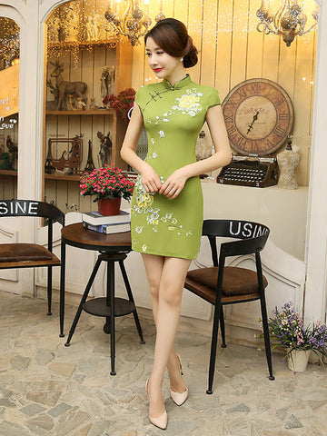 Pretty Green Floral Cap Sleeve Turtle Neck Side Split Short Cheongsam Mini Dress