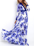 Floral Printed Deep V-neck Long Sleeves Maxi Dress