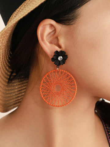 Flower Hollow Circular Line Twine Earrings