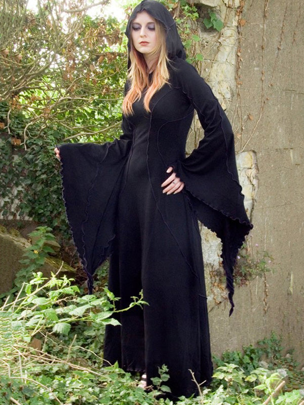 Flared Sleeves Split Joint Hooded Maxi Dress Oshoplive