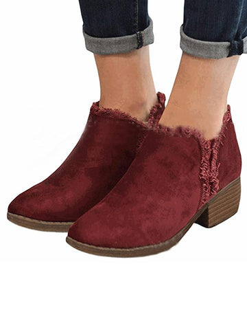 Solid Chunky Women Booties Shoes