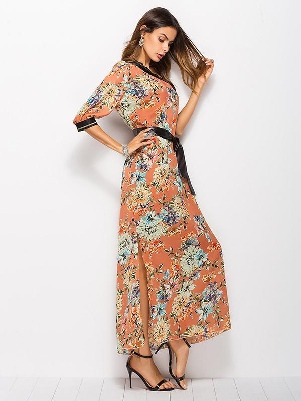 Floral One-shoulder Bohemia Maxi Dress