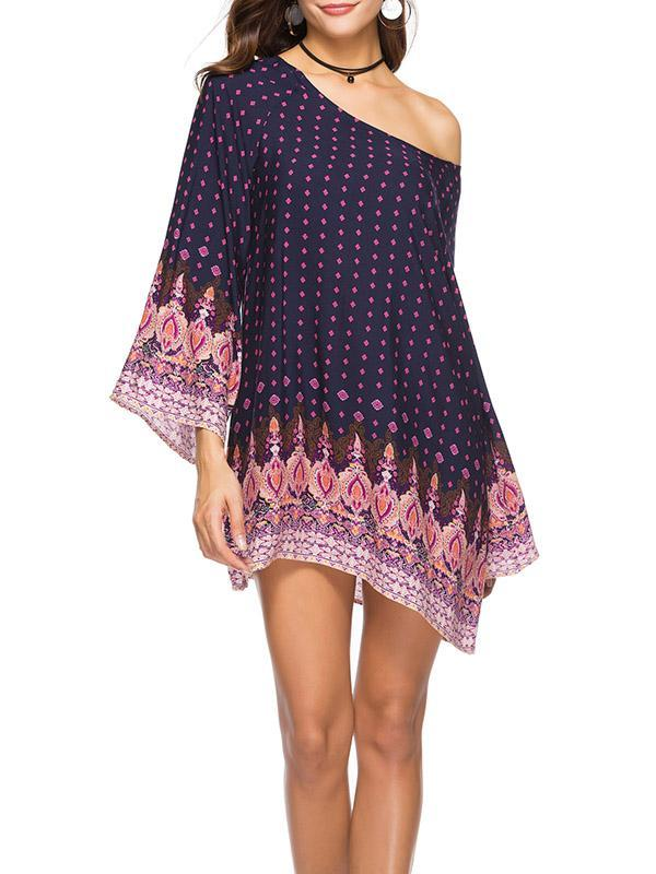 Floral Printed Solit-joint Mini Dress
