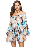 Off the Shoulder Floral A-line Trumpet Sleeves Dress