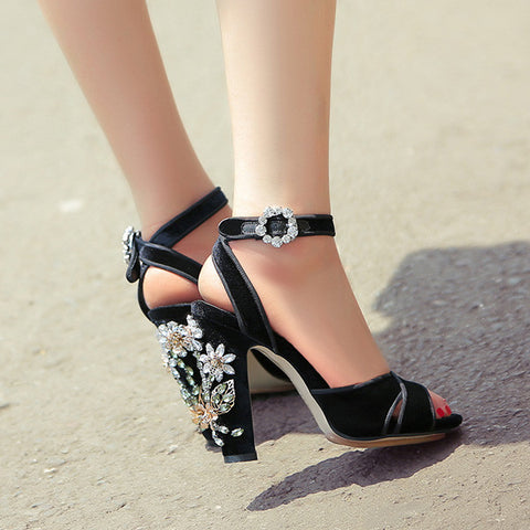 Waterproof Beautiful Floral Beadings Open Toe Sandals Chunky Heel
