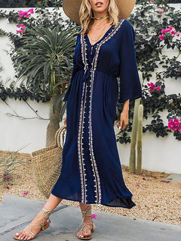 6d64916eee8f Navy Blue Bandage Waist Floral Cover-ups Maxi Dresses