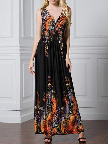 Pretty Sexy Floral-Print Deep V Neck Plus Maxi Dress