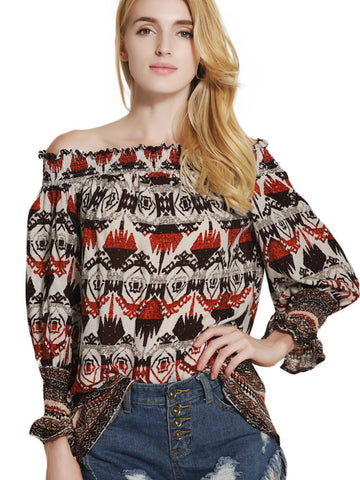 Retro Attractive Off Shoulder Long  Sleeve Printing Blouse Tops