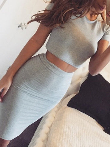 Sexy Gray Round Neck Short Sleeve Bodycon Midi Dress Suits