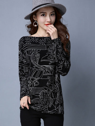 Simple Superior Round Neck Long Sleeve Print Loose Sweater