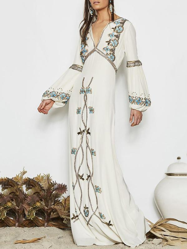 5889abd347 White Embroidered Puff Sleeve Maxi Dress – oshoplive