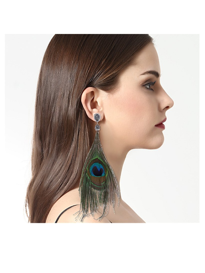 Fashion Feather Shape Style Alloy Earrings