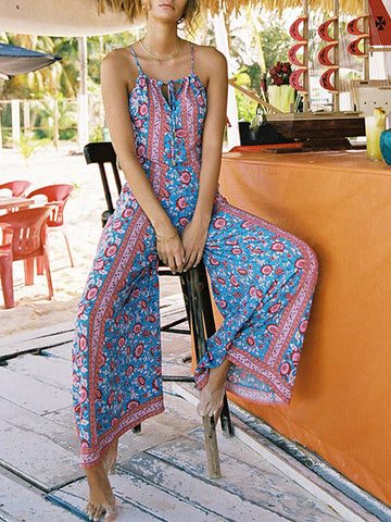 Bohemia Backless Wide Leg Jumpsuits