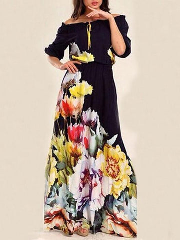 504e563661 Floral Printed Off-the-shoulder Half Sleeves Maxi Dress