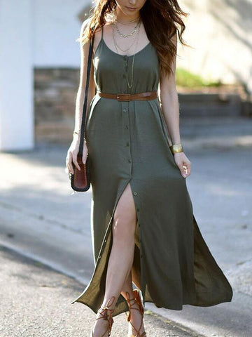 Solid Color Spaghetti-neck Maxi Dress