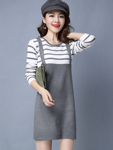 Sweet Superior Round Neck Long Sleeve Stripe Faux Two-Piece Sweater Dresses