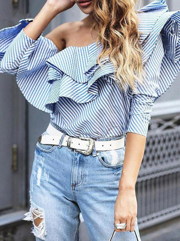 Pretty Stripe 3/4 Sleeve Off Shoulder with Ruffers Blouse Shirt Tops