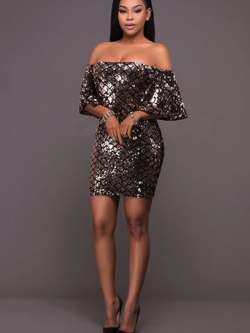 Sexy Off Shoulder Bodycon Sequins Mini Dress