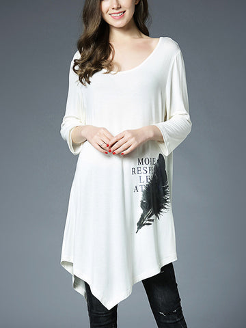 Round Neck 3/4 Sleeve Printing Plus Size Long Blouse Top