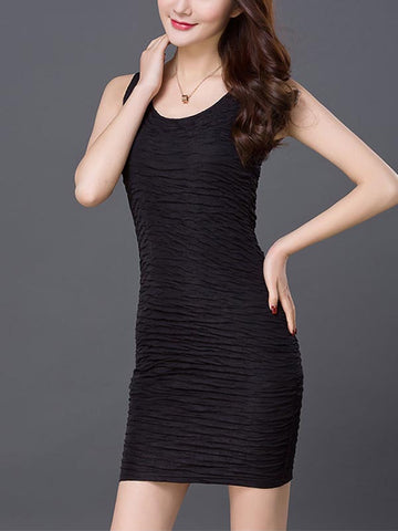 Sexy Deep Neck Sleeveless  Hi-lo Style Mini Dress