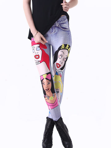 Sweet Conspicuous Snow White Printing Leggings Bottoms