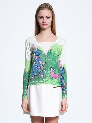 Sweet Cartoon V Neck Long Sleeve with Button Cardigan Top