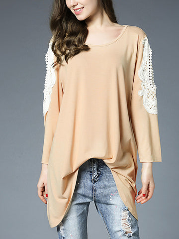 Round Neck Long Sleeve Split Joint Lace Plus Size Blouse Top