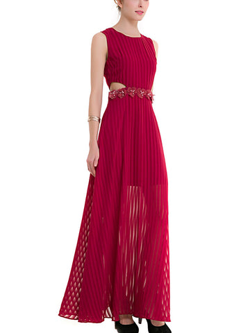 Pleated Round Neck Off-Shoulder Sleeveless Solid Color Maxi Dress