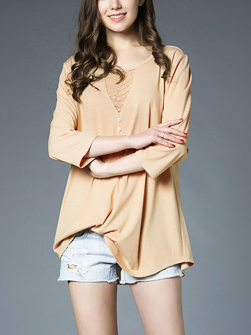 Round Neck 3/4 Sleeve Solid Color Plus Size Blouse Top