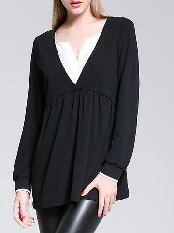 V-Neck Long Sleeve Split Joint Plus Size Blouse