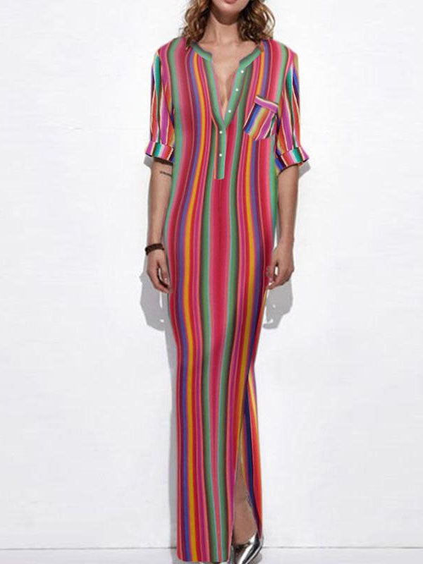 Colorful Striped V-neck Maxi Shirtdress