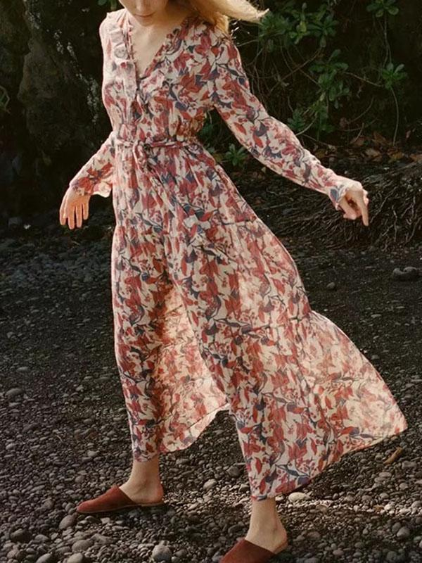 Bohemia Long-sleeve Falbala Floral Maxi Dress