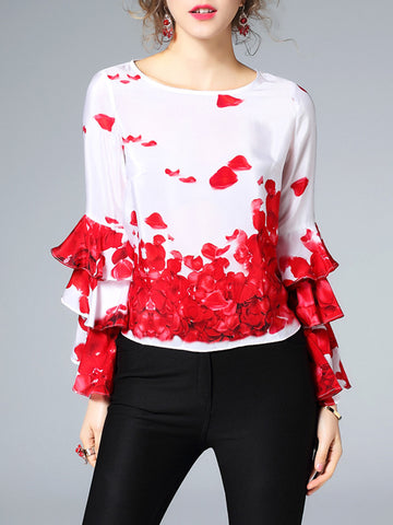 Real Silk Attractive Round Neck Long Flare Sleeve Blouses Tops