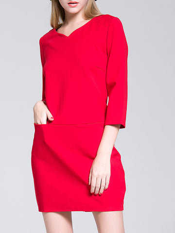 V-Neck 3/4 Sleeve Solid Color Plus Size Mini Dress
