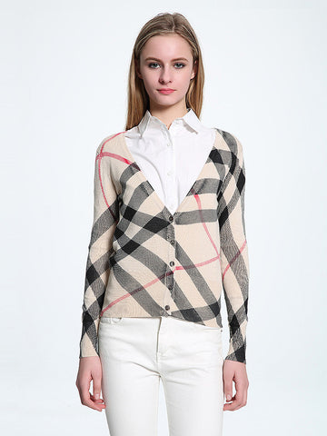 Unique Plaid V Neck Long Sleeve with Button Cardigan Top