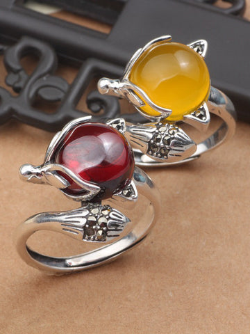 Wine Or Yellow Round Diamon Sterling Sliver Opening Rings