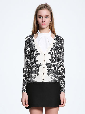 Special Floral V Neck Long Sleeve with Button Cardigan