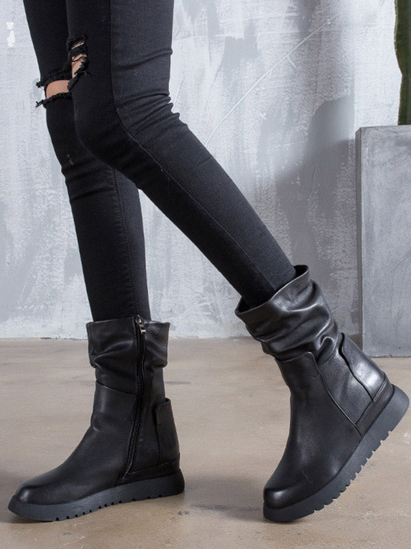 Black Fold Zipper Cow Leather Short Boots