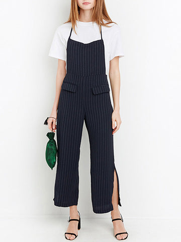 Unique Stripe One Piece Halter Strap Side split Jumpsuit