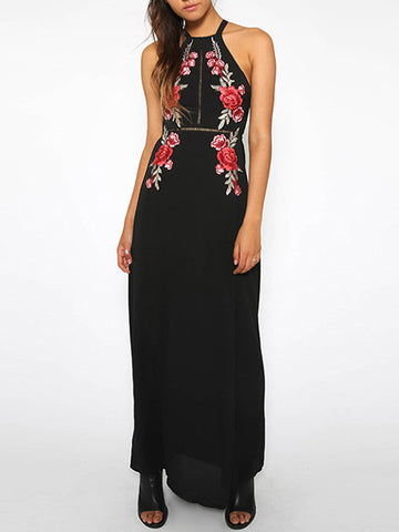 Pretty Black Embroidery Halter Straps Backless Long Maxi Dress