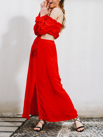 Fashion Red Off Shoulder Bohemia Long Sleeve Shirt and Long Skirt Dress Suits