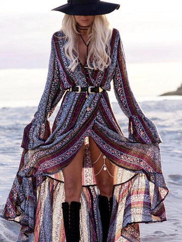 e0699ee1e72fd Pretty Chiffon Bohemia Floral Front Split with Tie Long Sleeve Maxi Dress