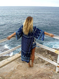 Navy Blue Chiffon Bohemia Floral Long Sleeve Cover-Up