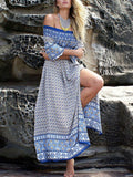 Fashion Chiffon Bohemia Floral Off Shoulder Side Split Maxi Dress