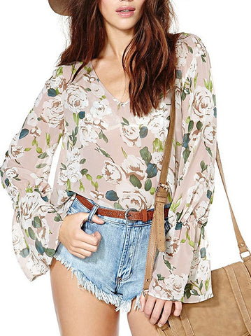 Sweet Floral Chiffon Long Sleeve V Neck Lady's Blouse Shirt Tops